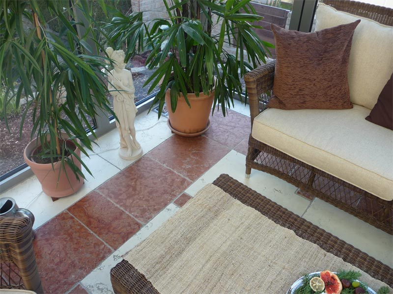 Sie sehen Bilder zu folgendem Artikel: Wintergarten Rosso Asiago + Bianco Perlino, getrommelt